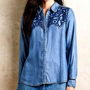 Anthropologie Holding Horses Canora Top L T159